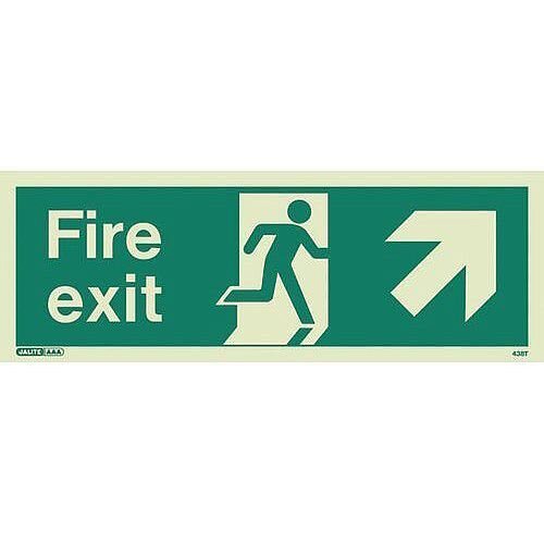 Photoluminescent Fire Exit Sign Fire Exit Arrow Up Right HxW 150X400mm
