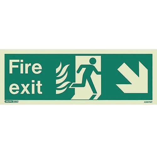 Photoluminescent NHS HTM 65 Fire Exit Sign Arrow Down Right HxW 150x400mm Ref:SY318356