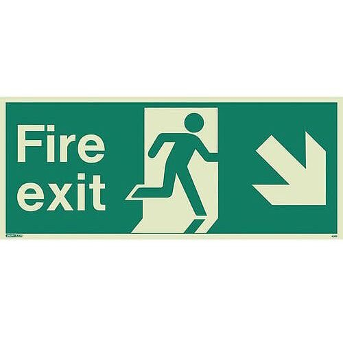 Photoluminescent Fire Exit Single Sided For Large Buildings 250X600 Arrow Down Right Sign
