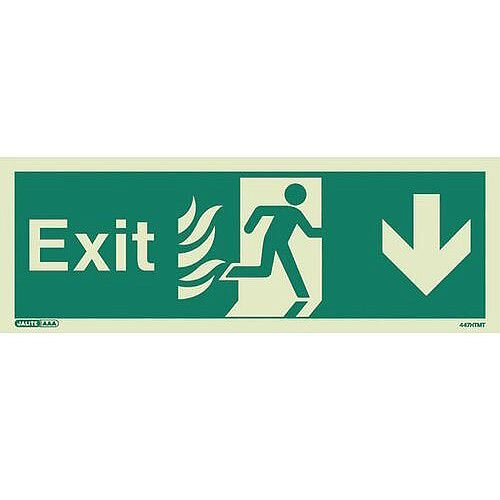 Photoluminescent NHS HTM 65 Fire Exit Sign Arrow Down HxW 200x450mm