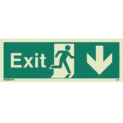 Photoluminescent Exit Sign Exit Arrow Down HxW 200X450mm