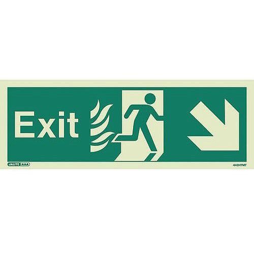 Photoluminescent NHS HTM 65 Fire Exit Sign Arrow Down Right HxW 150x400mm