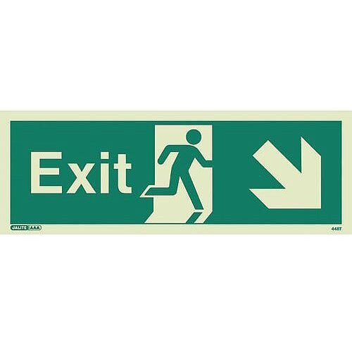Photoluminescent Exit Sign Exit Arrow Down Right HxW 200X450mm