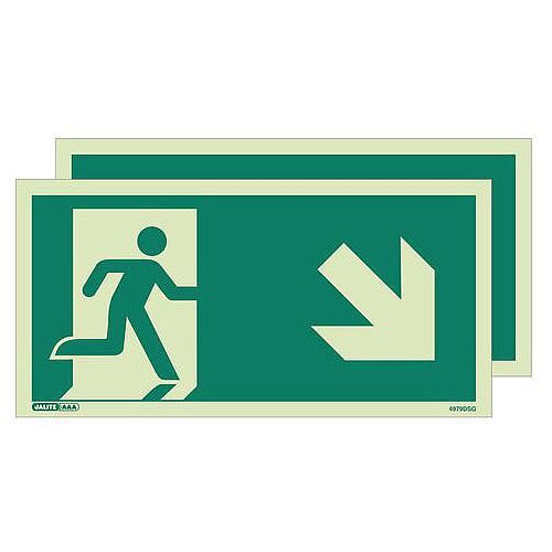 Photoluminescent Double Sided Safety Way Guidance Sign Arrow Down Right HxW 200X400mm