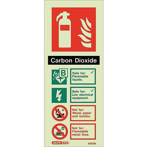 Photoluminescent Rigid Plastic Sign 200X80mm Fire Extinguisher Area Scarbon Dioxide