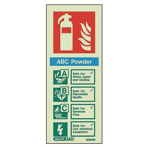 Photoluminescent Rigid Plastic Sign 200X80mm Fire Extinguisher Area Sabc Powder