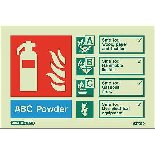 Photoluminescent Rigid Plastic Sign 100X150mm Fire Extinguisher Abc Powder