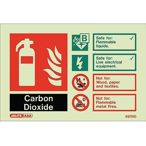 Photoluminescent Rigid Plastic Sign 100X150mm Fire Extinguisher Carbon Dioxide