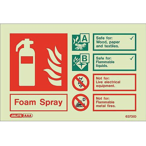 Photoluminescent Rigid Plastic Sign 100X150mm Fire Extinguisher Foam Spray