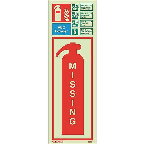 Photoluminescent Fire Extinguisher Missing Identification Abc Powder 450X200 Rigid