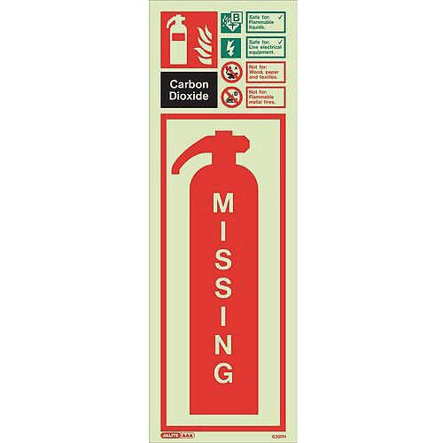 Photoluminescent Fire Extinguisher Missing Identification Carbon Dioxide 450X200 Rigid