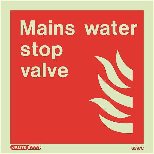 Photoluminescent Fire Fighting Equipment Notices Mains Water Stop Valve HxW 200X200mm