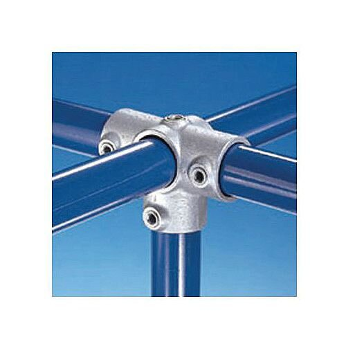 Metal Clamp System Type D 48mm 3-Way Cross With Vertical Through Centre Connector