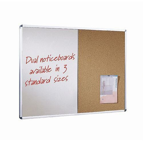 Wall Mounted Aluminium Frame Combination Cork Noticeboard And Whiteboard Unit 900X600mm