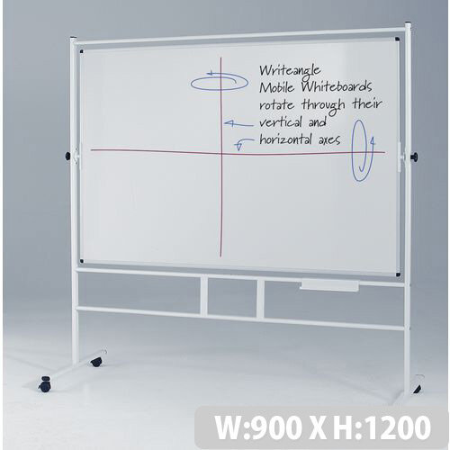 Portrait Revolving Double-Sided Whiteboard With Guideline Surface 1200x900mm