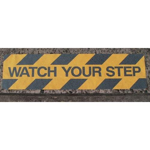 Hazard Warning Tape Printed Safety Grip Strips Anti Slip Message: Watch Your Step 150 x 610mm Pack 10