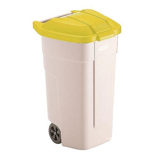 Rubbermaid Big 2 Wheels Wheelie Bin Container Yellow 100L