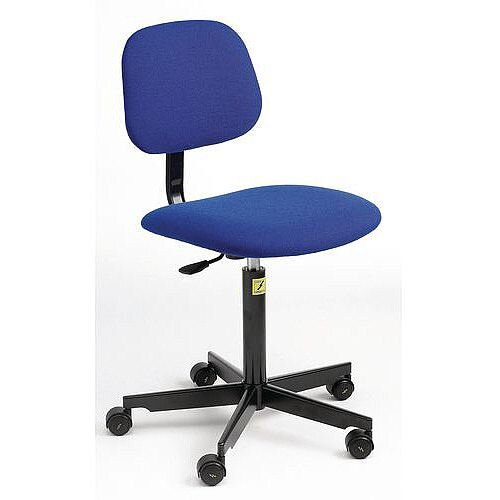 Anti-Static Chair Metal 5 Star Base With Castors Height Adjustment 480-680mm Blue Fabric