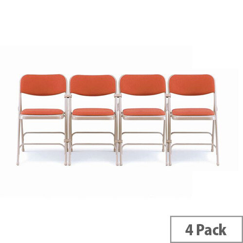 Steel Folding Chair With Red Upholstery Set of 4