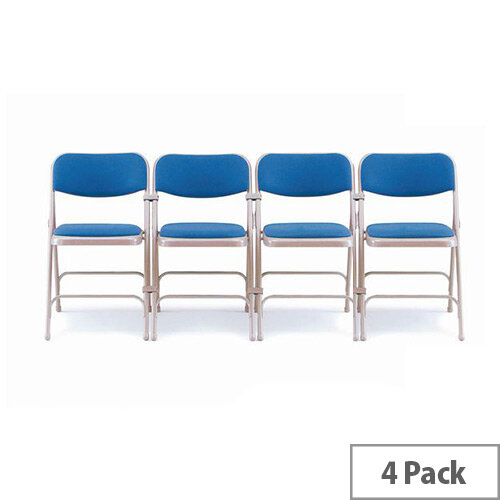 Steel Folding Chair With Blue Upholstery Set of 4