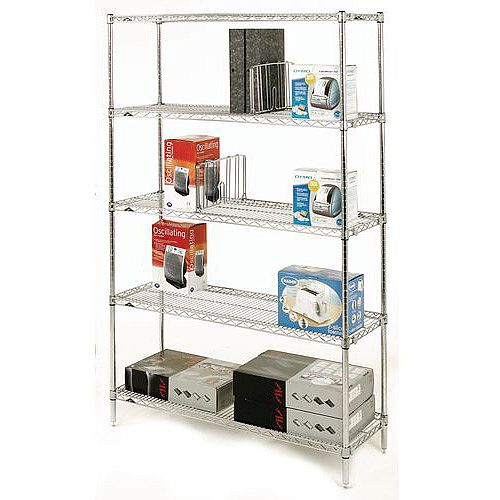 Olympic Chrome Wire Shelving System 1895mm High Starter Unit WxD 1219x457mm 5 Shelves &4 Posts 350kg Shelf Capacity