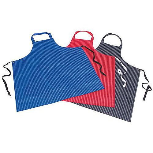 Pu &Nylon Polyester Twin Stripe Butchers Aprons Red
