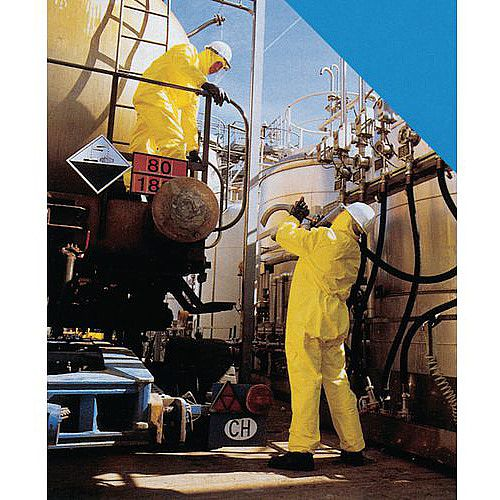 One-Piece Overall Chemical Handling Coverall Size XL Yellow