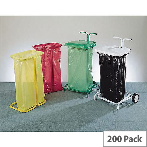 Clinical Waste Bags Coloured Bin Sacks Yellow 90L Pack of 200