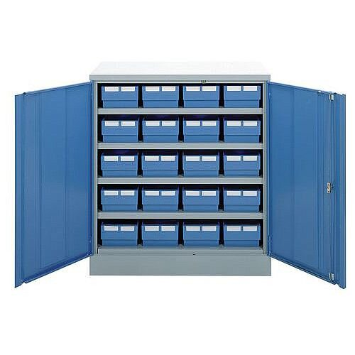 Small Part Storage Cabinet With Blue Doors1000x915x460mm &20 Linbin Trays Bl