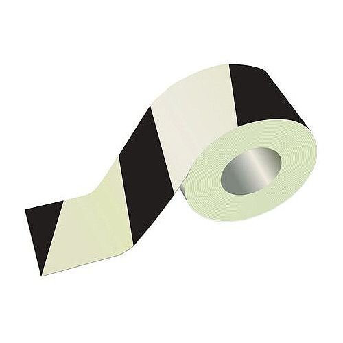 Photoluminescent Obstacles &Dangerous Location Tape White - Black 10m