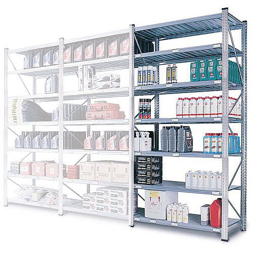 Zinc Plated Boltless Steel Shortspan Shelving Add-On Bay HxWxD 2000x900x500mm - 6 Shelf Levels, 185kg Shelf Capacity
