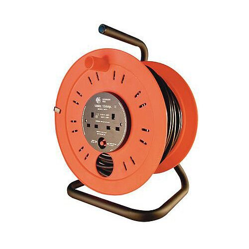Industrial Extension Cable Reel 25 Metres Long With 4 Outlets