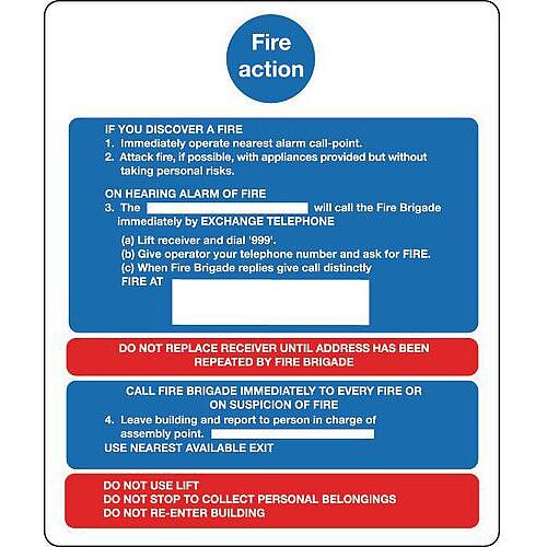 Sign Fire Action Notice 250X300 Vinyl