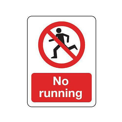 Self Adhesive Vinyl General Prohibition Sign No Running Portrait
