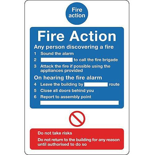 Sign Fire Action Notice 200X250 Vinyl