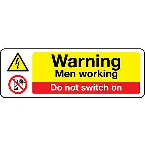 Self Adhesive Vinyl Machinery Hazards Sign Warning Men Working Do Not Switch On