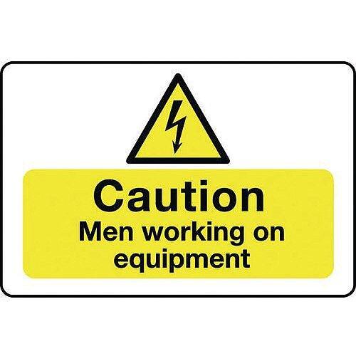 Self Adhesive Vinyl Muli-Purpose Hazard Sign Caution Men Working On Equipment