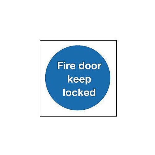 Self Adhesive Vinyl Fire Door Keep Locked Sign