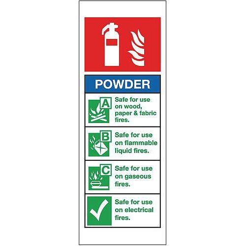 Self Adhesive Vinyl Fire Extinguisher Sign Powder
