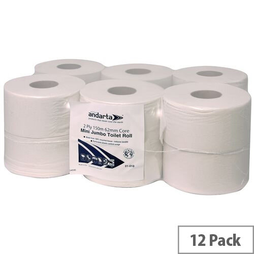 Andarta Standard Mini Jumbo Dispenser Toilet Tissue Refill Rolls 150m 2 Ply White Toilet Tissue Pack 12