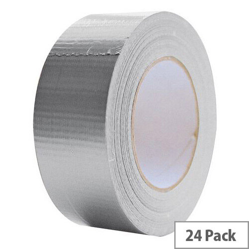 Cloth Tape 50mm X 50M Silver Duct Tape Pack of 24