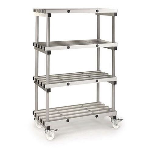 Anodised Aluminium Shelving Mobile Unit HxWxDmm 1560x1200x500