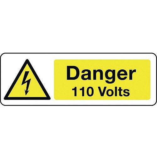 Self Adhesive Vinyl Electrical Hazard Sign Danger 110 Volts