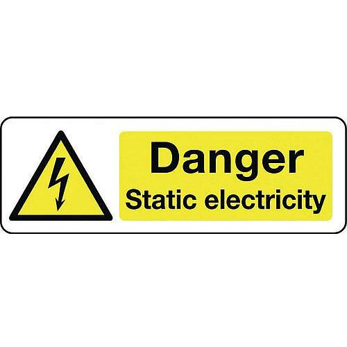 Self Adhesive Vinyl Electrical Hazard Sign Danger Static Electricity