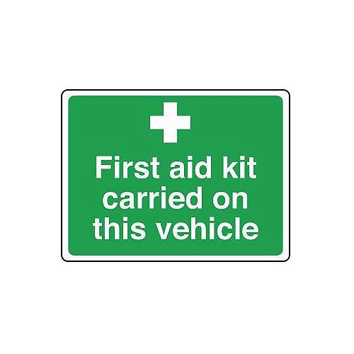 Sign First Aid Kit Carried On 100X75 Vinyl