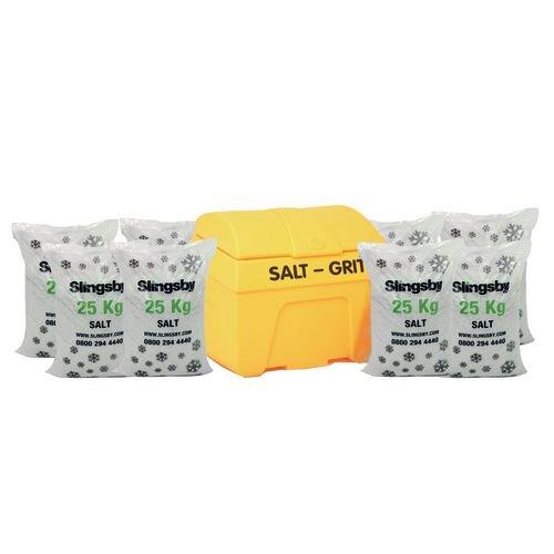 Winter Maintenance Basic Kit Kit includes 200L Grit Bin and 8 Bags of Salt.
