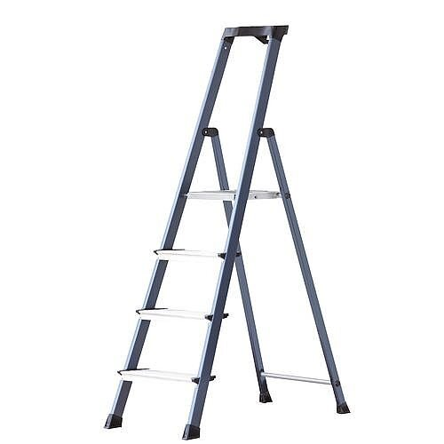Extra Deep Tread Aluminium Step Platform Ladder 4 Tread Height 0.85m Silver