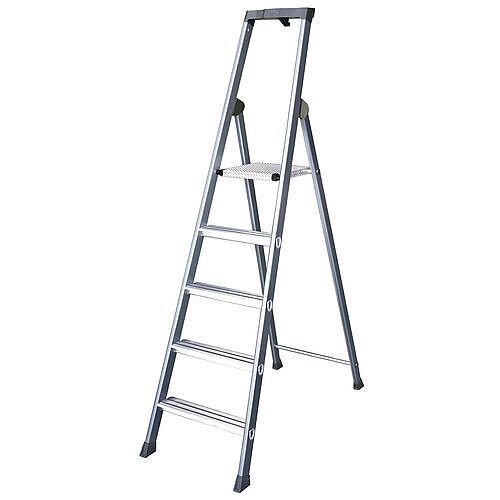 Extra Deep Tread Aluminium Step Ladder 6 Tread Platform Height 1.25m Silver