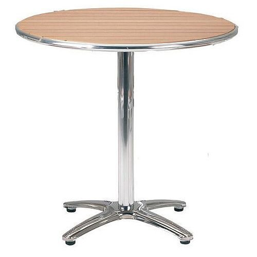 Slatted Cafe Furniture Table Circular Top Table