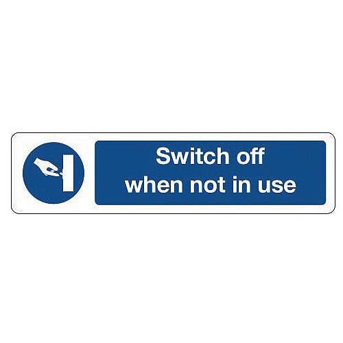 Aluminium Mini Mandatory Safety Sign Switch Off When Not In Use